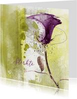 Sterktekaart paarse roos op groen