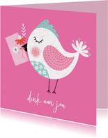 Sterktekaart vogel bloem roze