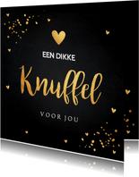 Sterktekaart zwart goudlook typografie confetti