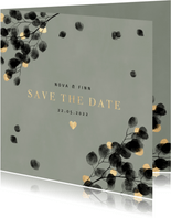 Stijlvol eucalyptus en goud save the date kaart waterverf