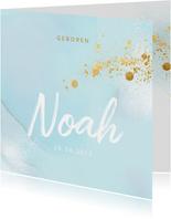 Stijlvol geboortekaartje aquarel goud spetters
