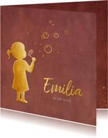 Stijlvol geboortekaartje meisje met bellenblaas silhouet