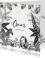 Stijlvol geboortekaartje met jungledieren in zwart/wit