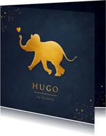 Stijlvol geboortekaartje met silhouet van baby olifant