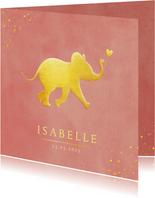 Stijlvol geboortekaartje met silhouet van olifant in goud