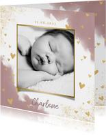 Stijlvol geboortekaartje met waterverf, hartjes en spetters