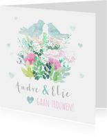 Stijlvol trouwkaart met duifjes in pastel kleuren