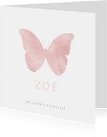 Stijlvol wit geboortekaartje met waterverf silhouet vlinder