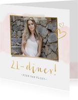 Stijlvolle 21-diner uitnodiging kaart met roze waterverf
