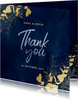 Stijlvolle bedankkaart blauwe waterverf en gouden planten