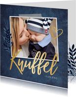 Stijlvolle beterschapskaart met eigen foto en gouden knuffel