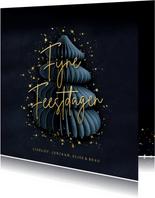 Stijlvolle blauwe kerstkaart met kerstboom & gouden spetters