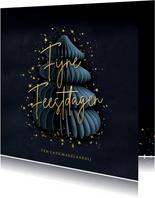 Stijlvolle blauwe zakelijke kerstkaart met kerstboom en goud
