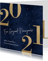 Stijlvolle donker blauwe kerstkaart 2021 goud