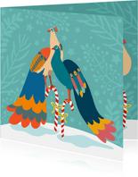 Stijlvolle en kleurrijke kerstkaart met pauwen
