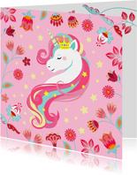 Stijlvolle en kleurrijke verjaardagskaart met unicorn