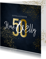 Stijlvolle felicitatiekaart 50 jaar goudlook met spetters