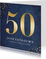 Stijlvolle felicitatiekaart 50 jarig huwelijksjubileum goud