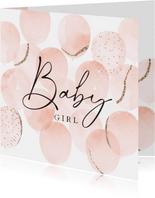 Stijlvolle felicitatiekaart geboorte met waterverf ballonnen