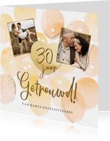 Stijlvolle felicitatiekaart jubileum met ballonnen en hart