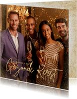 Fotokaarten - Stijlvolle fotokaart gezonde kerst in goudlook