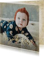 Stijlvolle grote foto kerstkaart en gezonde kerst goudlook