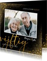 Stijlvolle jubileum uitnodiging 50 jaar met goudlook