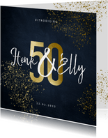 Stijlvolle jubileumkaart 50 jaar goudspetters
