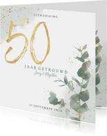 Stijlvolle jubileumkaart 50 jaar waterverf, spetters & takje