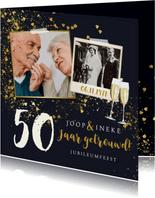 Stijlvolle jubileumkaart goud champagne hartjes confetti