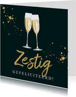 Stijlvolle kaart champagneglazen op chique groen