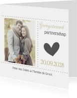 Stijlvolle kaart voor geregistreerd partnerschap met foto