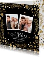 Stijlvolle kerstkaart 2 foto's kersttakjes goud zwart