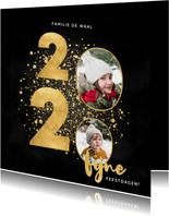 Stijlvolle kerstkaart 2020 gouden spetters fijne feestdagen