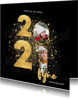 Stijlvolle kerstkaart 2021 gouden spetters fijne feestdagen