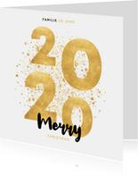 Stijlvolle kerstkaart gouden 2020, spetters Merry Christmas