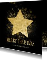 Stijlvolle kerstkaart gouden ster Merry Christmas