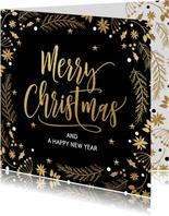 Stijlvolle kerstkaart kersttakjes zwart goud