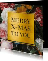Stijlvolle kerstkaart met bloemen en goud Jan Davidsz