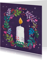 Stijlvolle kerstkaart met brandende kaars