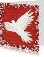 Stijlvolle kerstkaart met een vredesduif, rode achtergrond.