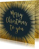Stijlvolle kerstkaart met goud kader en typografie