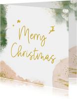 Stijlvolle kerstkaart met goudlook en waterverf