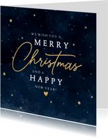 Stijlvolle kerstkaart met heelal sterren 'Merry Christmas'