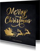 Stijlvolle kerstkaart met silhouet van kerstman in arrenslee