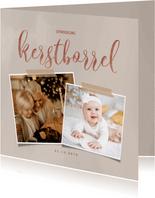 Stijlvolle kerstkaart met uitnodiging en foto's