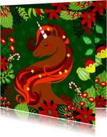 Stijlvolle kerstkaart met unicorn, bloemen en zuurstokken.