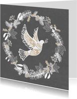 Stijlvolle kerstkaart met Vredesduif