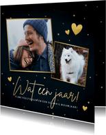 Stijlvolle kerstkaart 'Wat een jaar!' met hartjes en foto's
