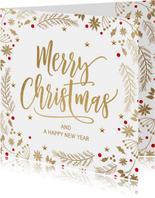 Stijlvolle kerstkaart wit goud merry christmas